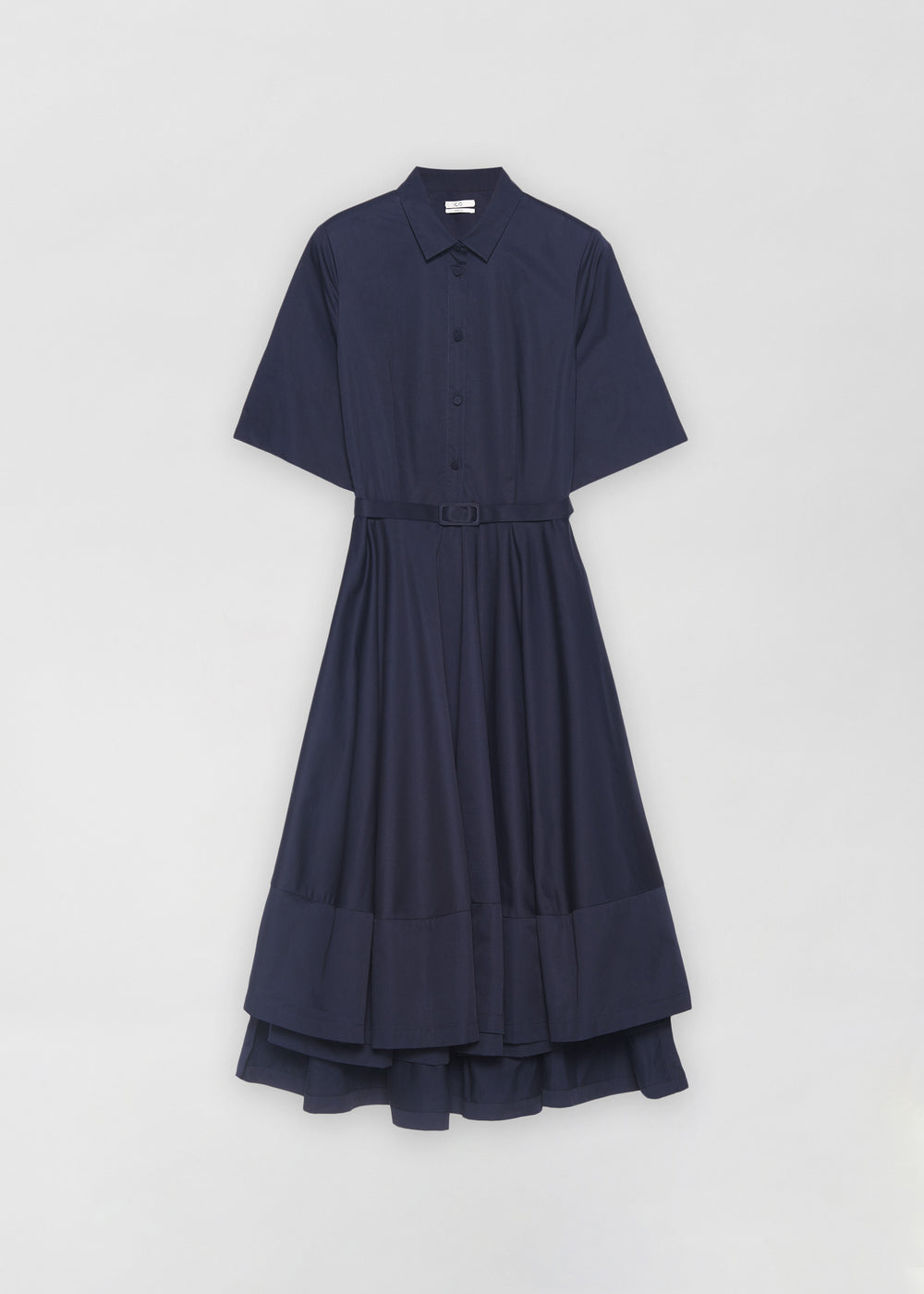 Short Sleeve Flared Dress in Cotton Poplin- Taupe in Navy by Co Collections