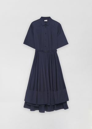 Short Sleeve Flared Dress - Navy - Co Collections