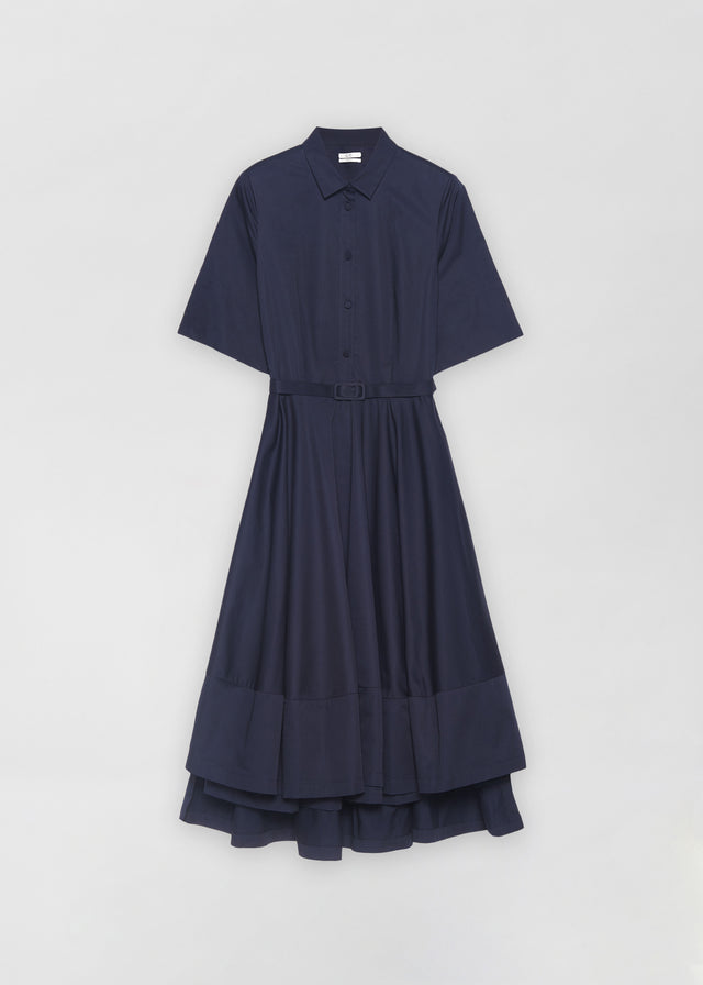 CO - Short Sleeve Flared Dress in Cotton Poplin - Navy