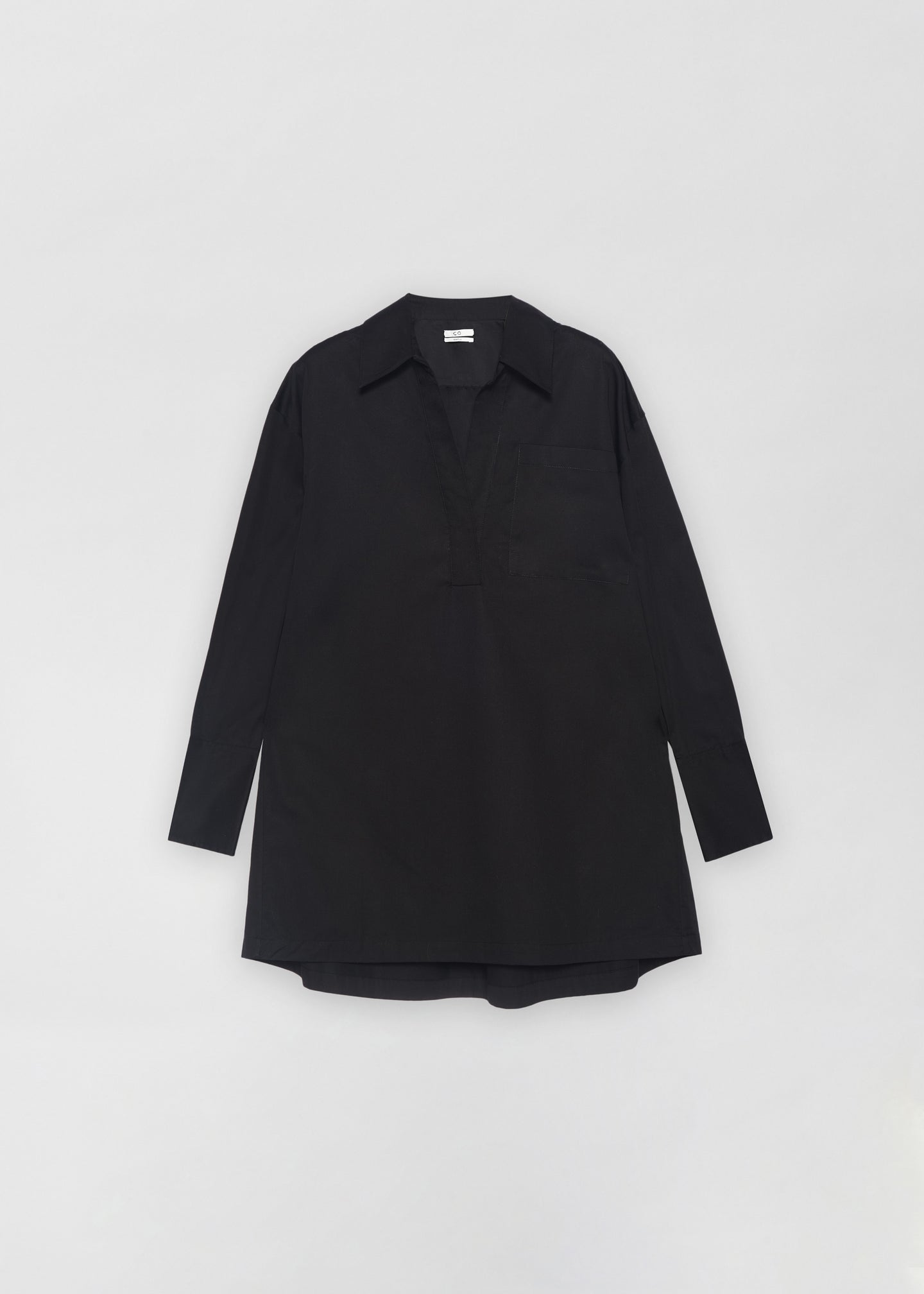 Half Placket Shirt - Black - Co Collections