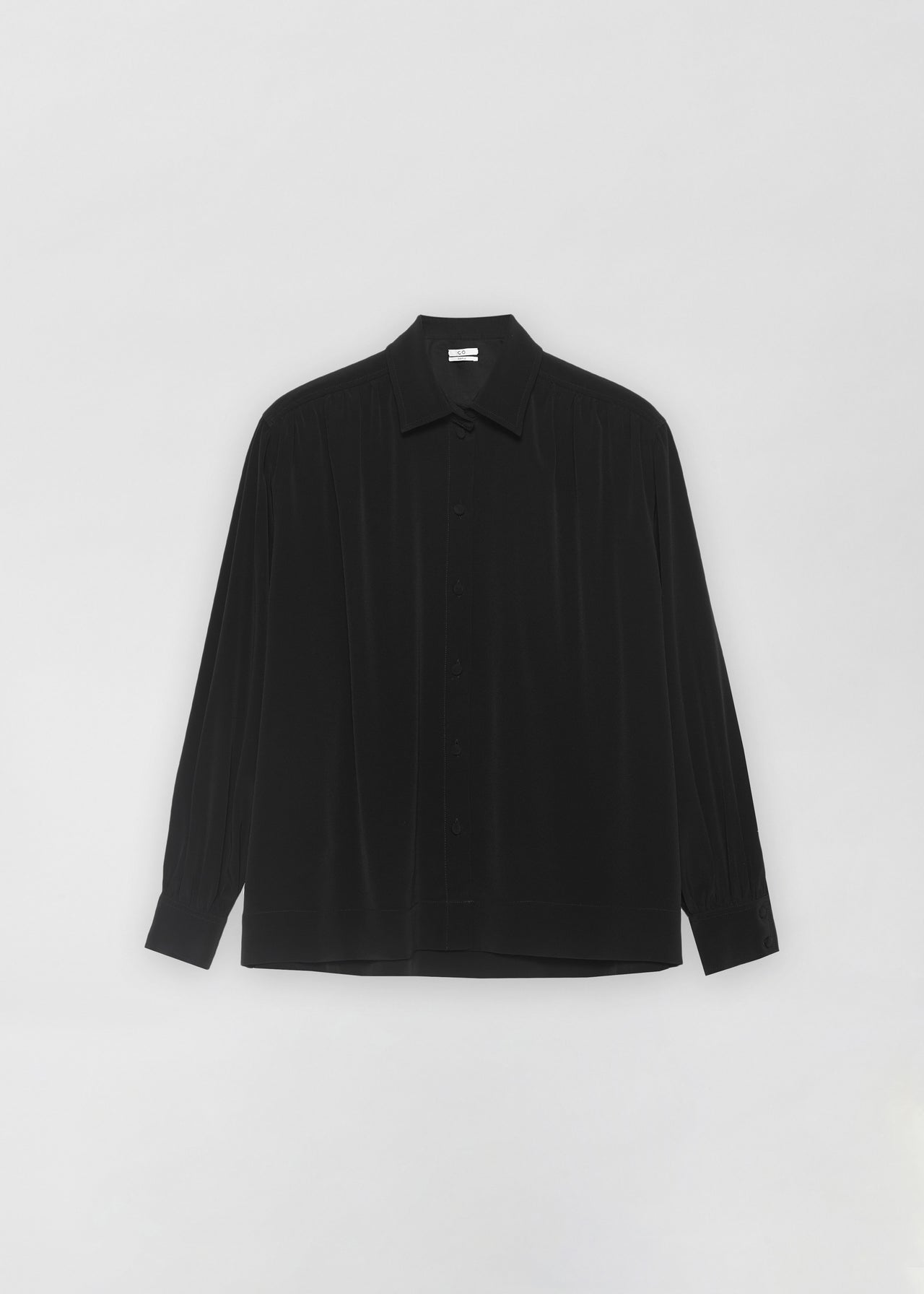 Ruched Button Down Blouse - Black