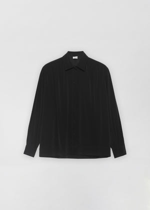 Ruched Button Down Blouse - Black - Co Collections