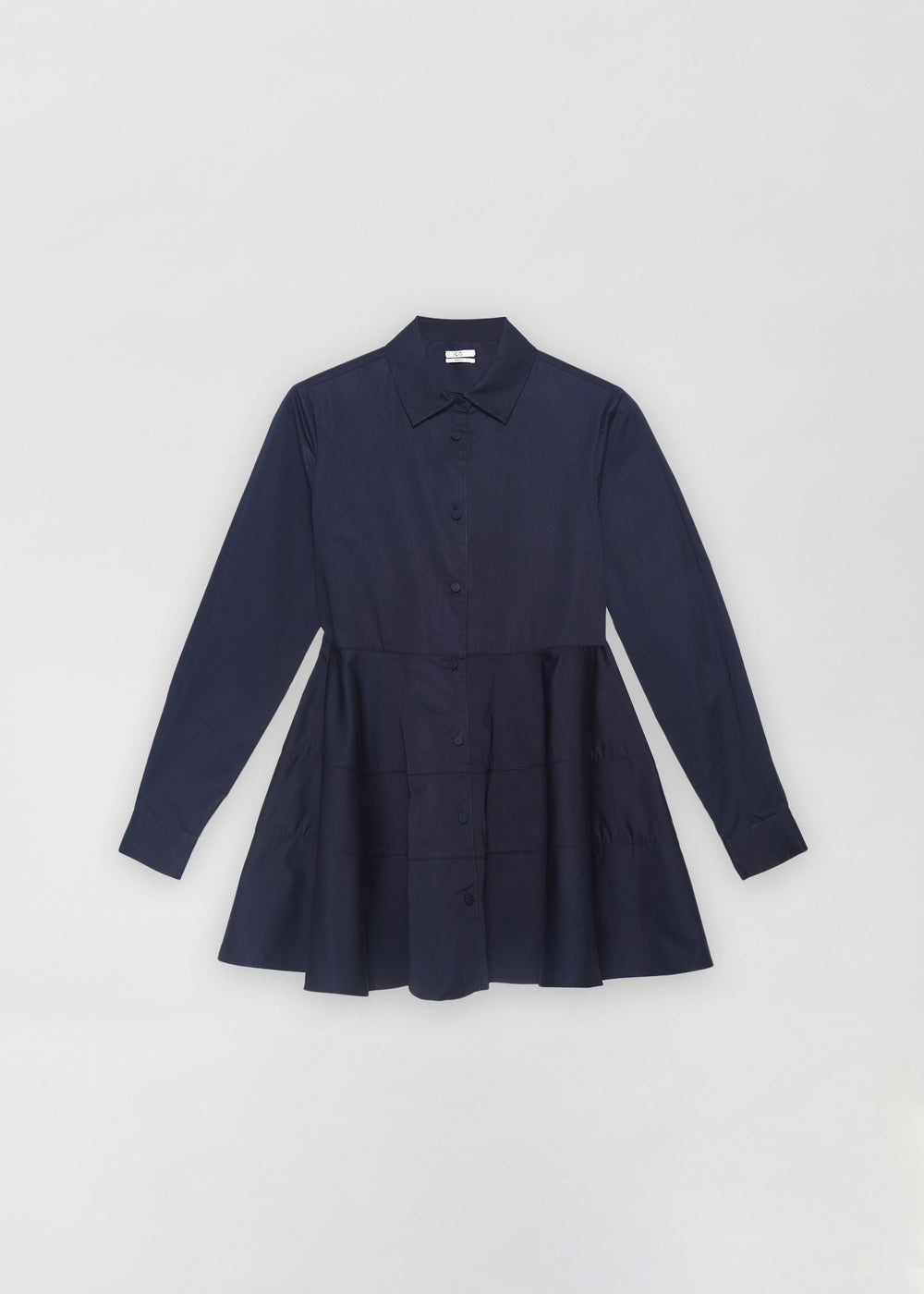 Tiered Button Down Shirt - Navy - CO Collections