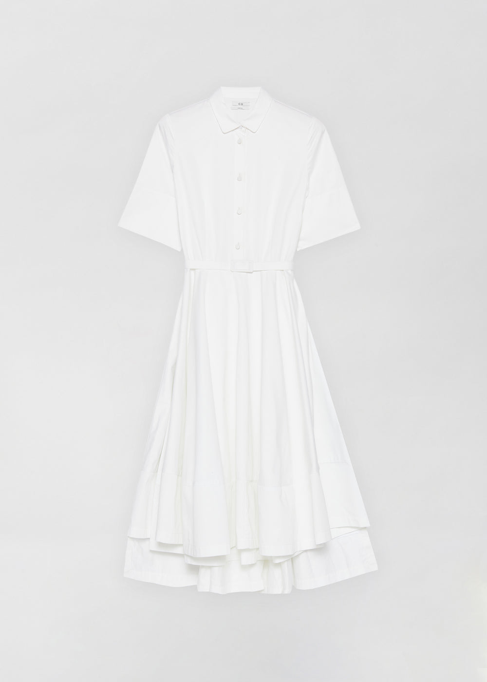 Short Sleeve Flared Dress in Cotton Poplin- Taupe in White by Co Collections