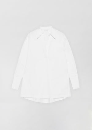 Half Placket Shirt - White - CO