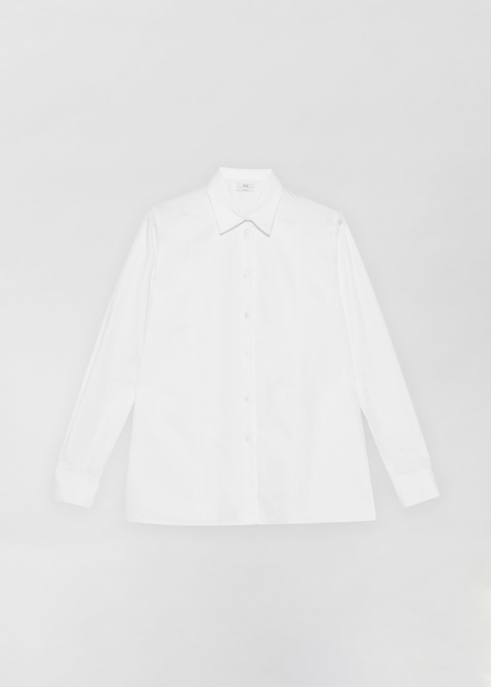 Tucked Placket Button Down Shirt - White - CO