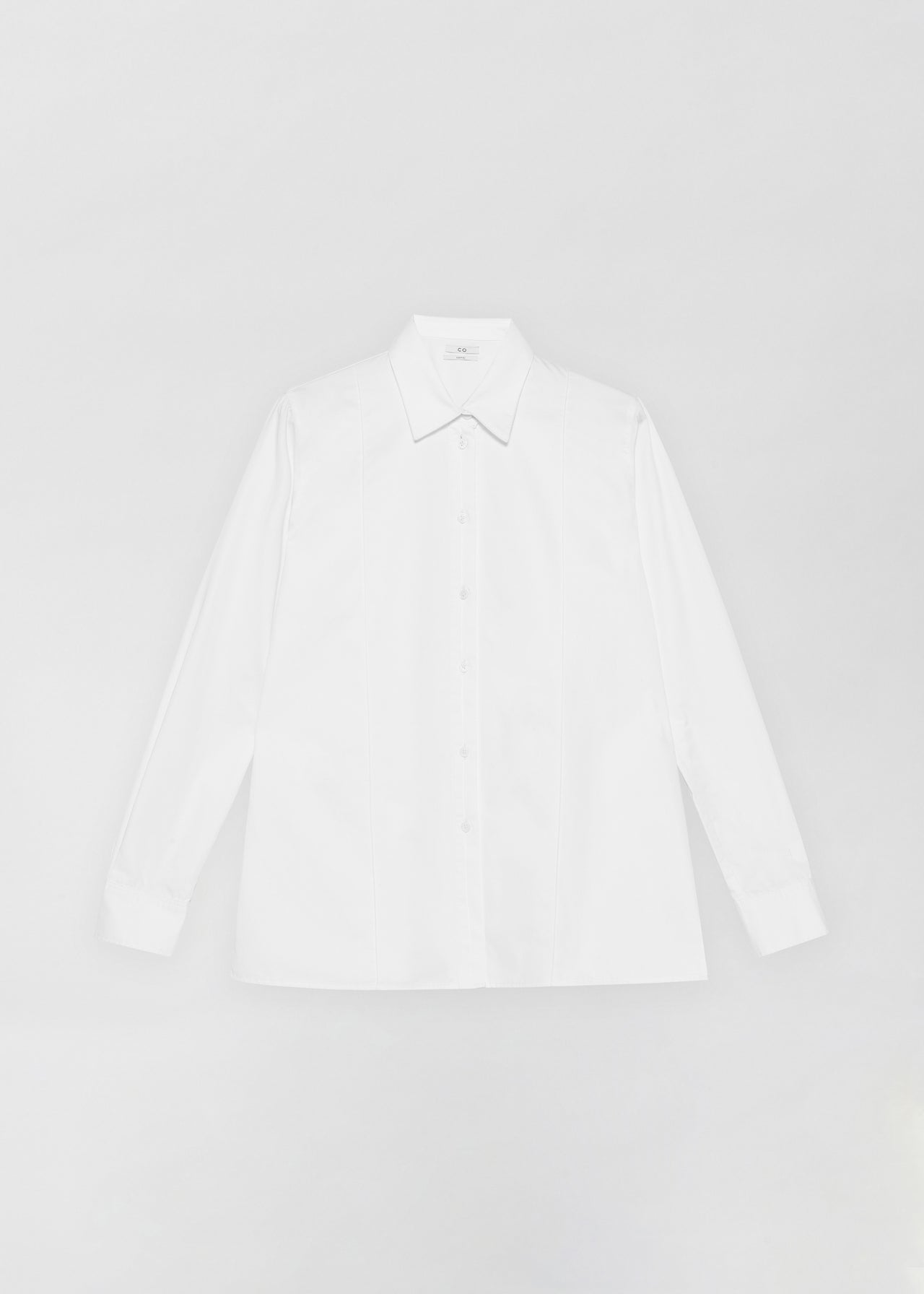 Tucked Placket Button Down Shirt - White