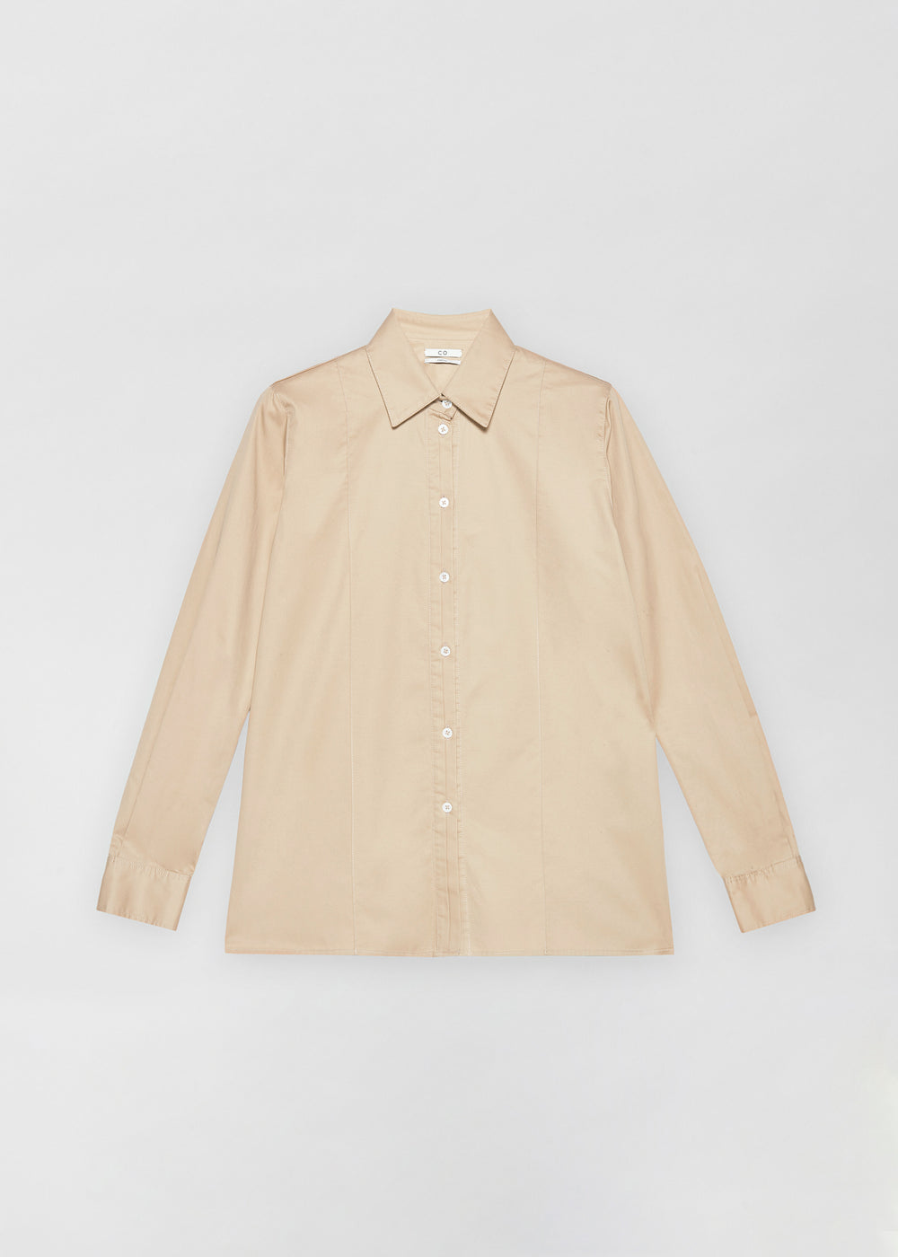 Tucked Placket Button Down Shirt - Taupe - CO Collections