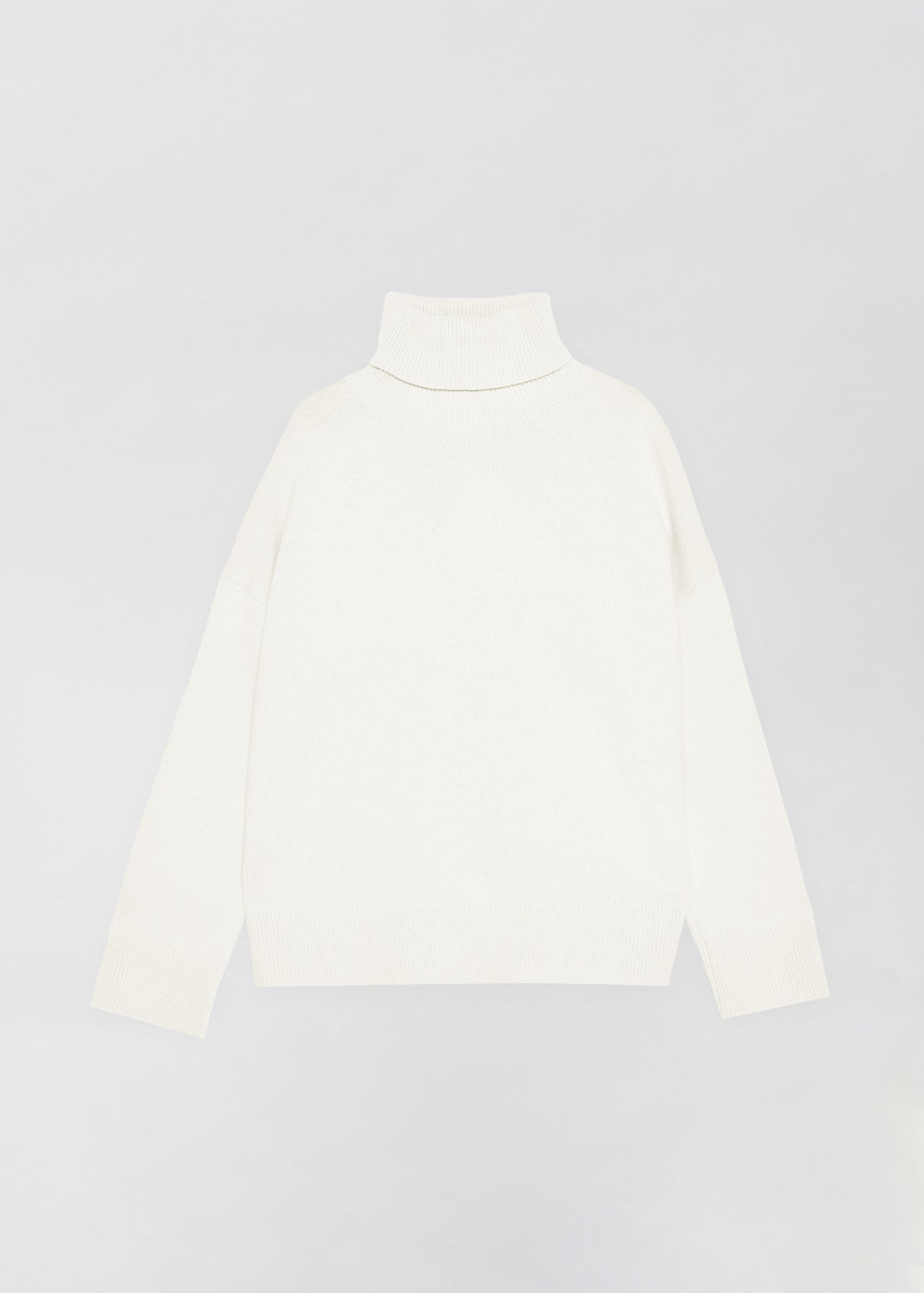 Ivory Boxy Turtleneck Sweater, Black A-Line Skirt - CO