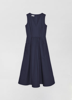 Sleeveless Trapunto Hem Dress - Navy - Co Collections