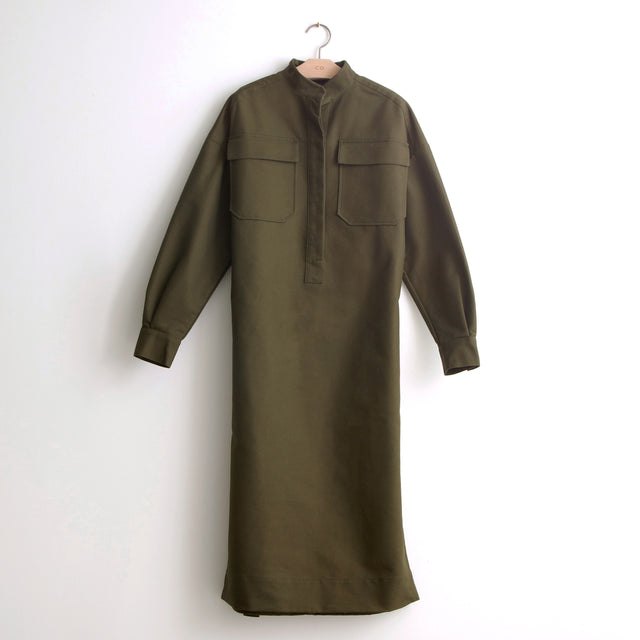 CO - Belted shirt dress with utilitarian pockets in olive heavy cotton