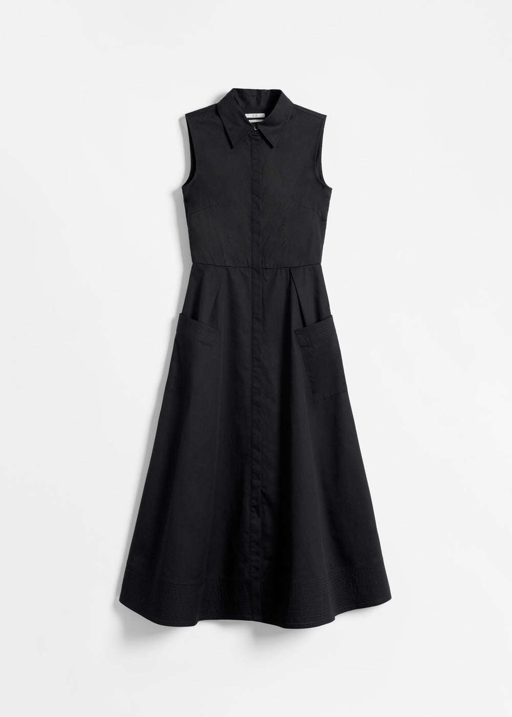 Sleeveless Button Down Dress in Cotton Poplin - Navy in Black by Co Collections