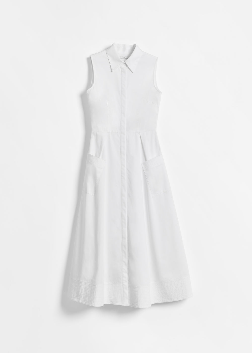 Sleeveless Button Down Dress in Cotton Poplin - Navy in White by Co Collections