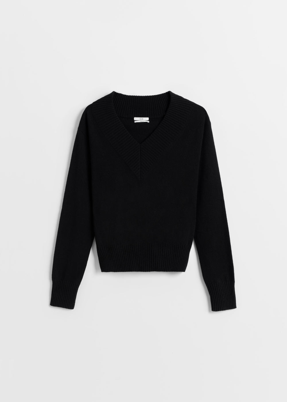 Cashmere V-Neck Sweater - Ivory in Black by Co Collections