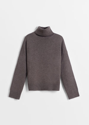 CO - Boxy Turtleneck Sweater in Wool Cashmere - Brown