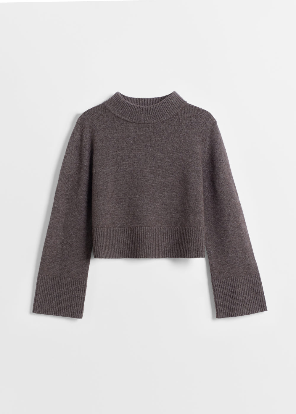 Boxy Crew Neck Sweater - Ivory in Brown by Co Collections