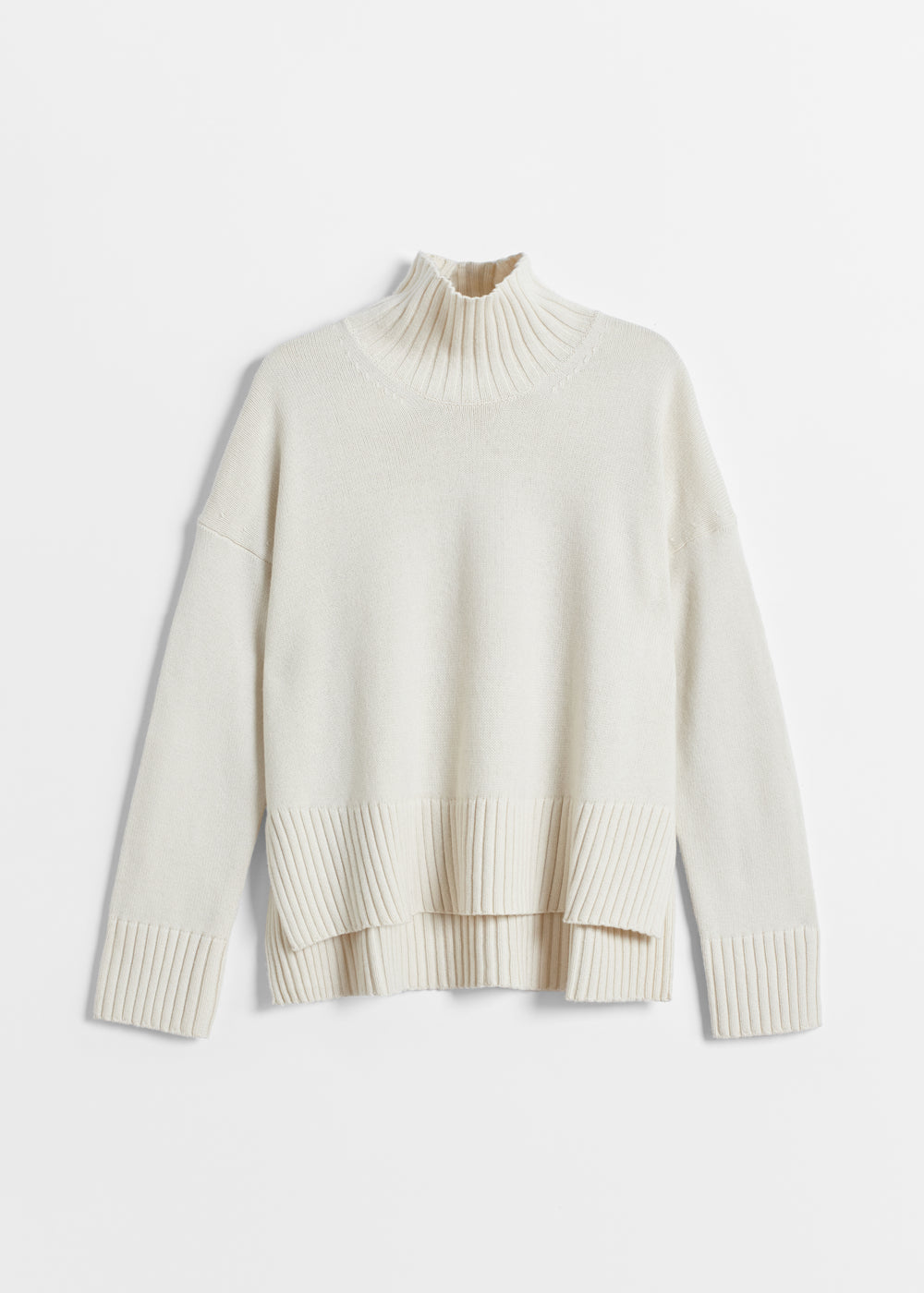 High Neck Sweater in Wool Cashmere - Black in Ivory by Co Collections