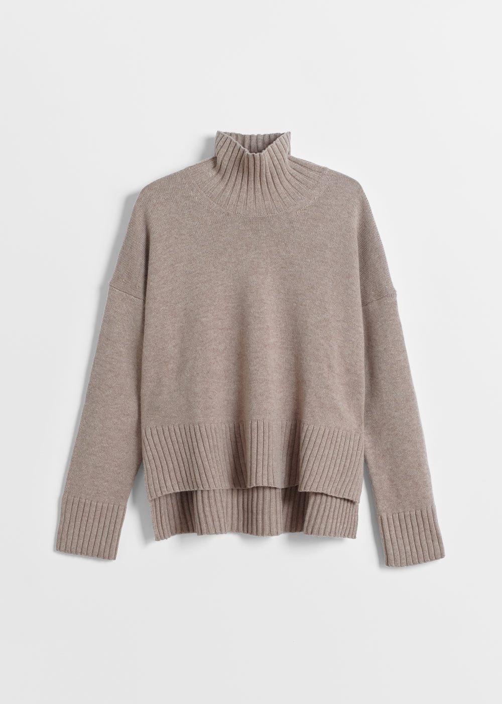 High Neck Sweater in Wool Cashmere - Black in Taupe by Co Collections