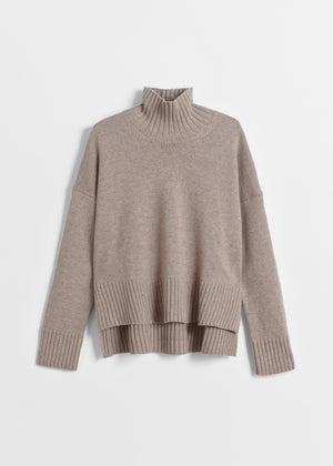 High Neck Sweater in Wool Cashmere - Taupe - CO