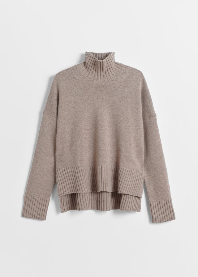 CO - High Neck Sweater in Wool Cashmere - Taupe