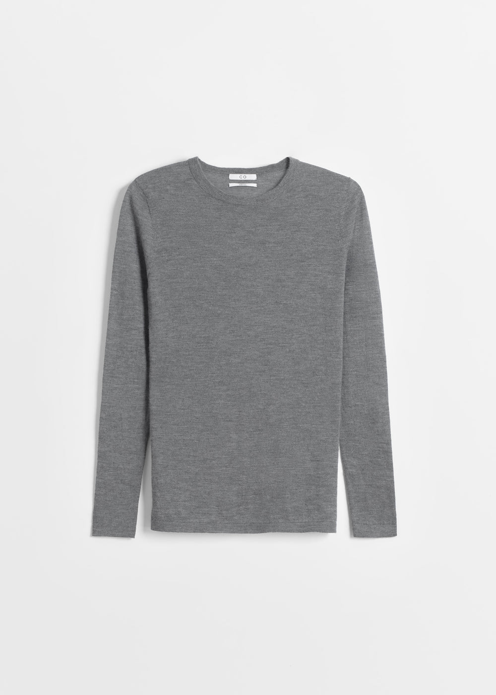Long Sleeve Crew Neck in Fine Cashmere - Black in Grey by Co Collections