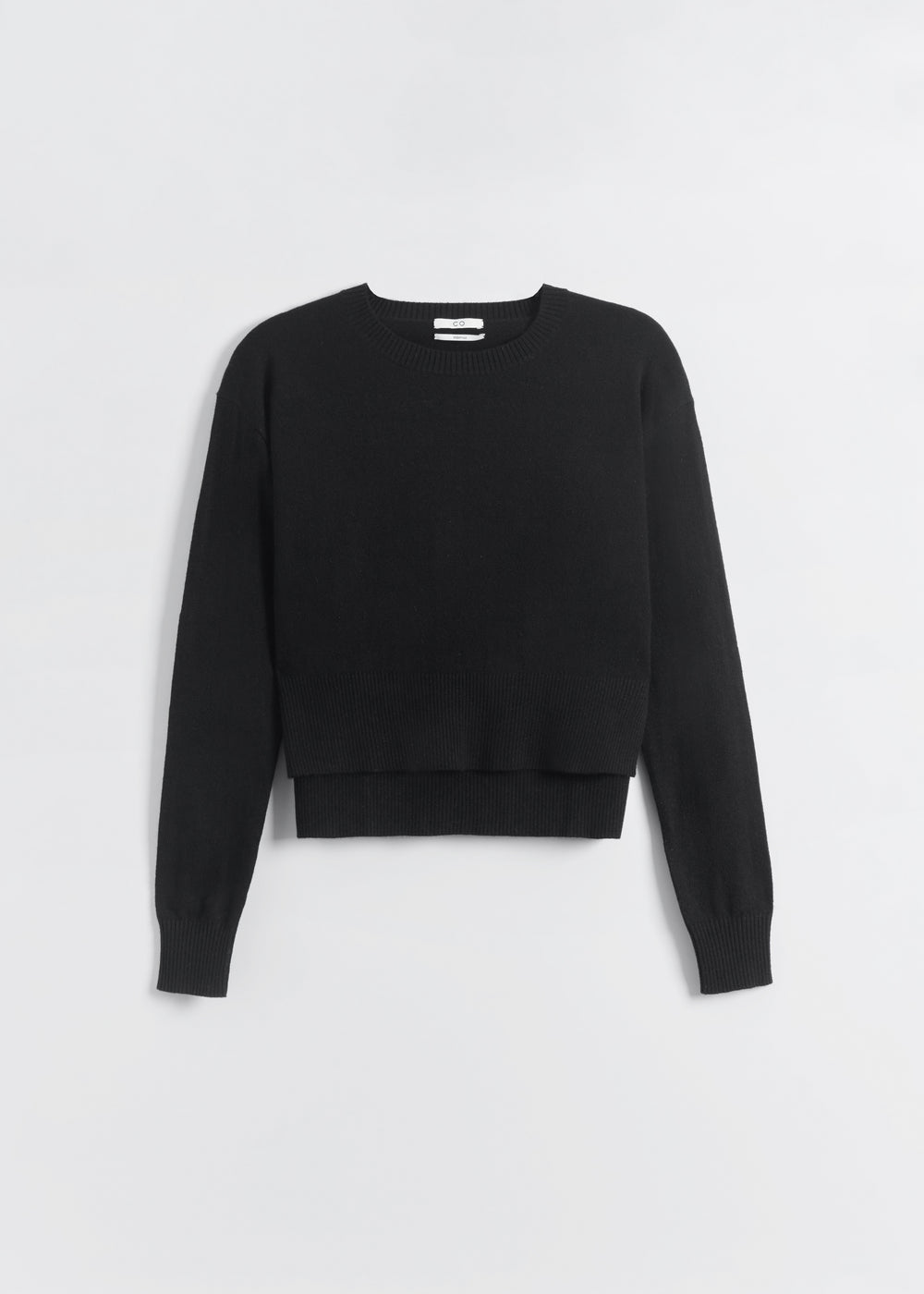Cropped Crew Neck in Wool Cashmere - Ivory in Black by Co Collections
