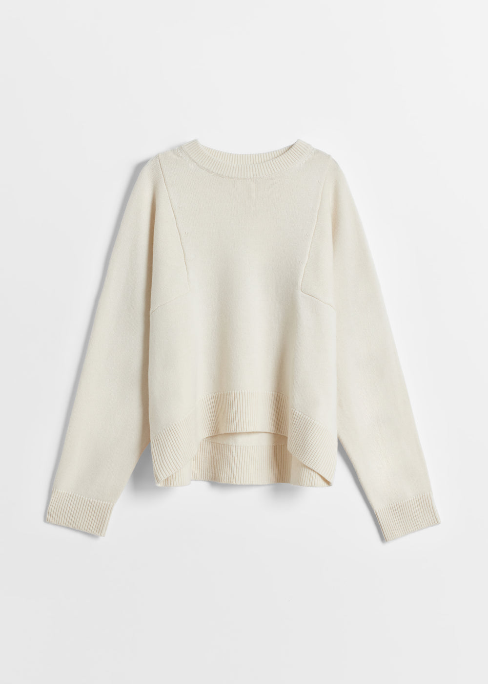 Crew Neck Sweater in Wool Cashmere - Black in Ivory by Co Collections