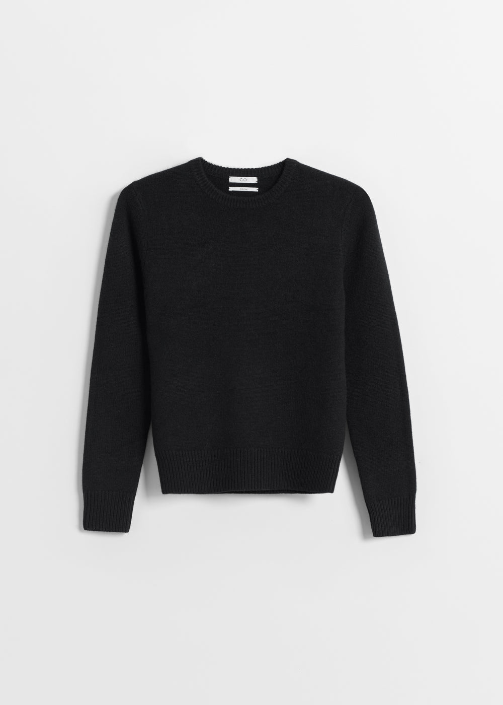 Classic Crew Neck in Cashmere - Light Grey in Black by Co Collections