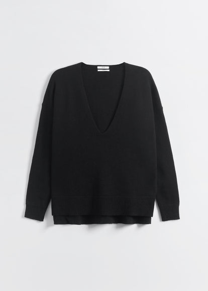 V-Neck Sweater in Wool Cashmere - Black - CO