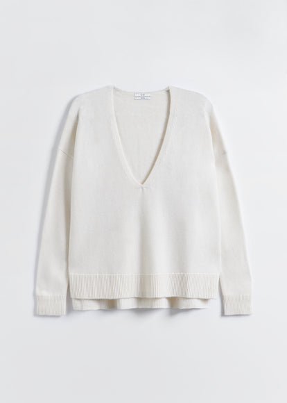 V-Neck Sweater in Wool Cashmere - Ivory - CO