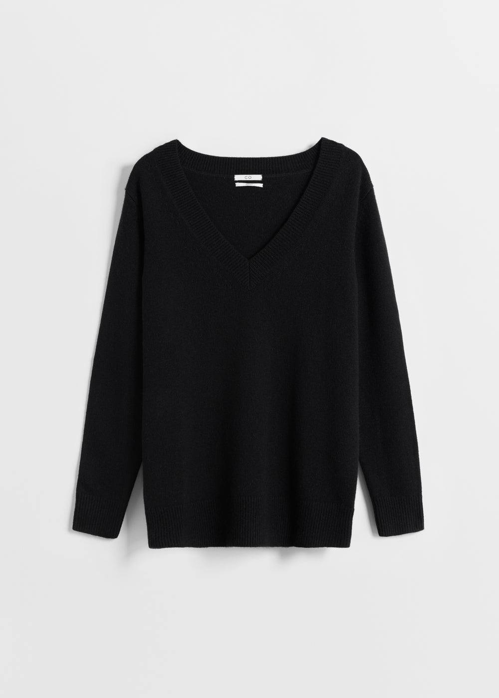 V-Neck Boyfriend Sweater - Grey in Black by Co Collections