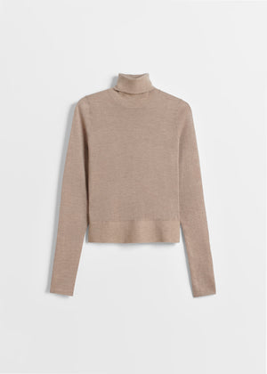 Fitted Cashmere Turtleneck - Taupe - CO