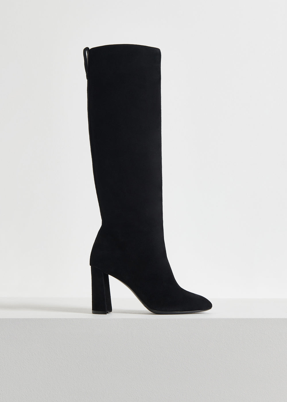 Tall Boot in Suede - Taupe in Black by Co Collections