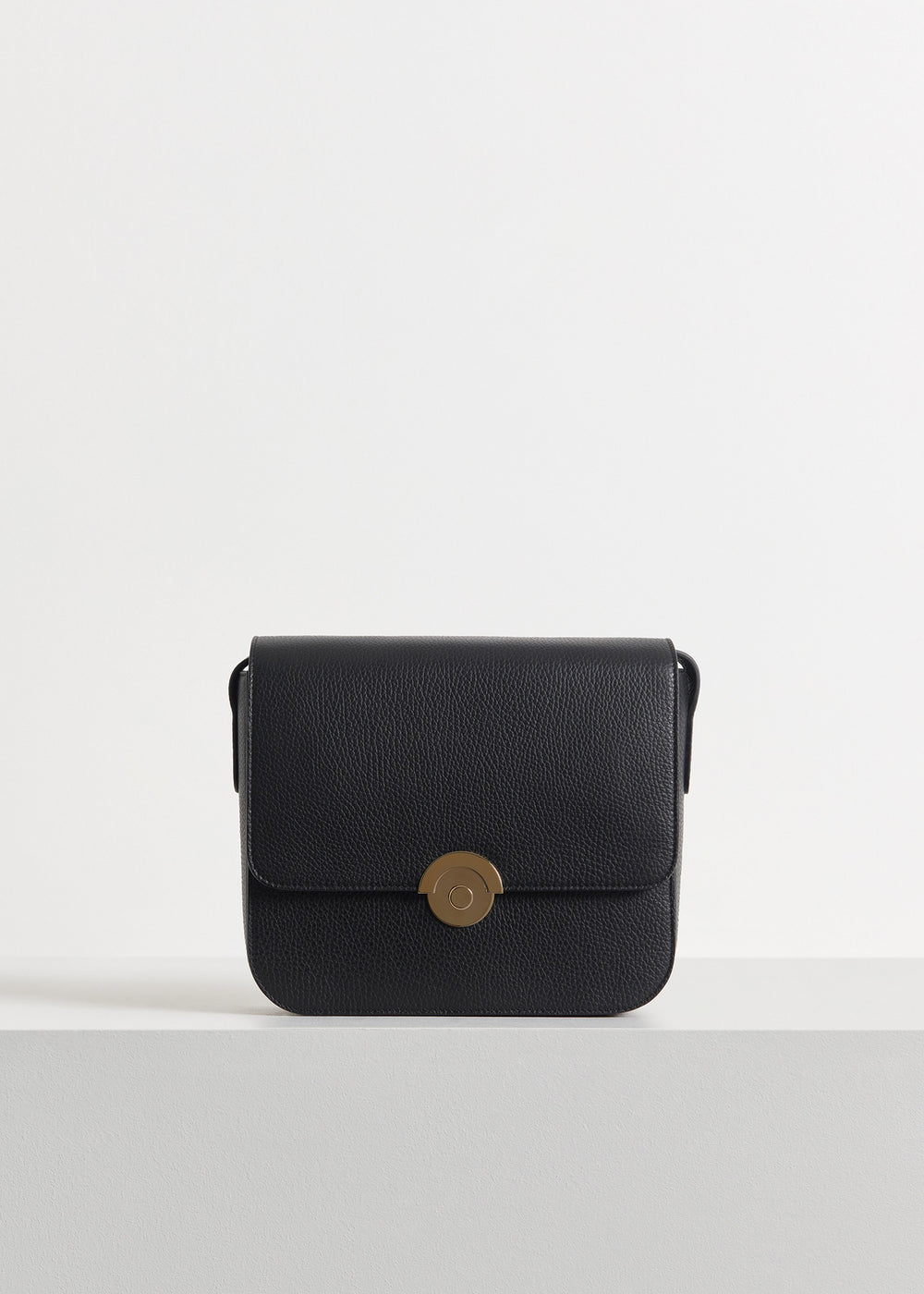 Box Bag in Pebbled Leather - Ivory in Black by Co Collections