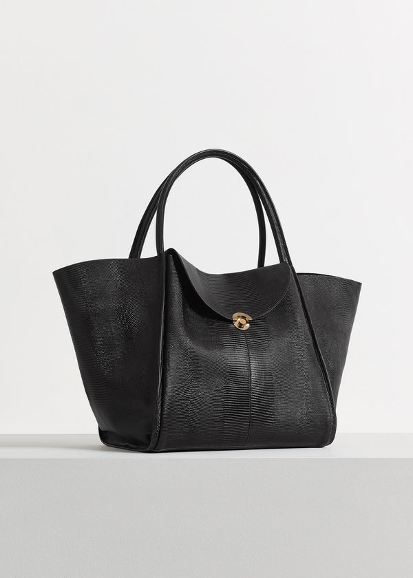 Cabas Bag in Embossed Leather - Black - CO