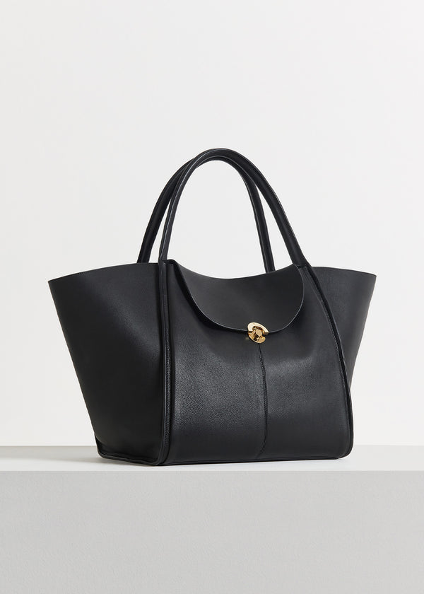 Cabas Bag in Pebbled Leather - Black - CO
