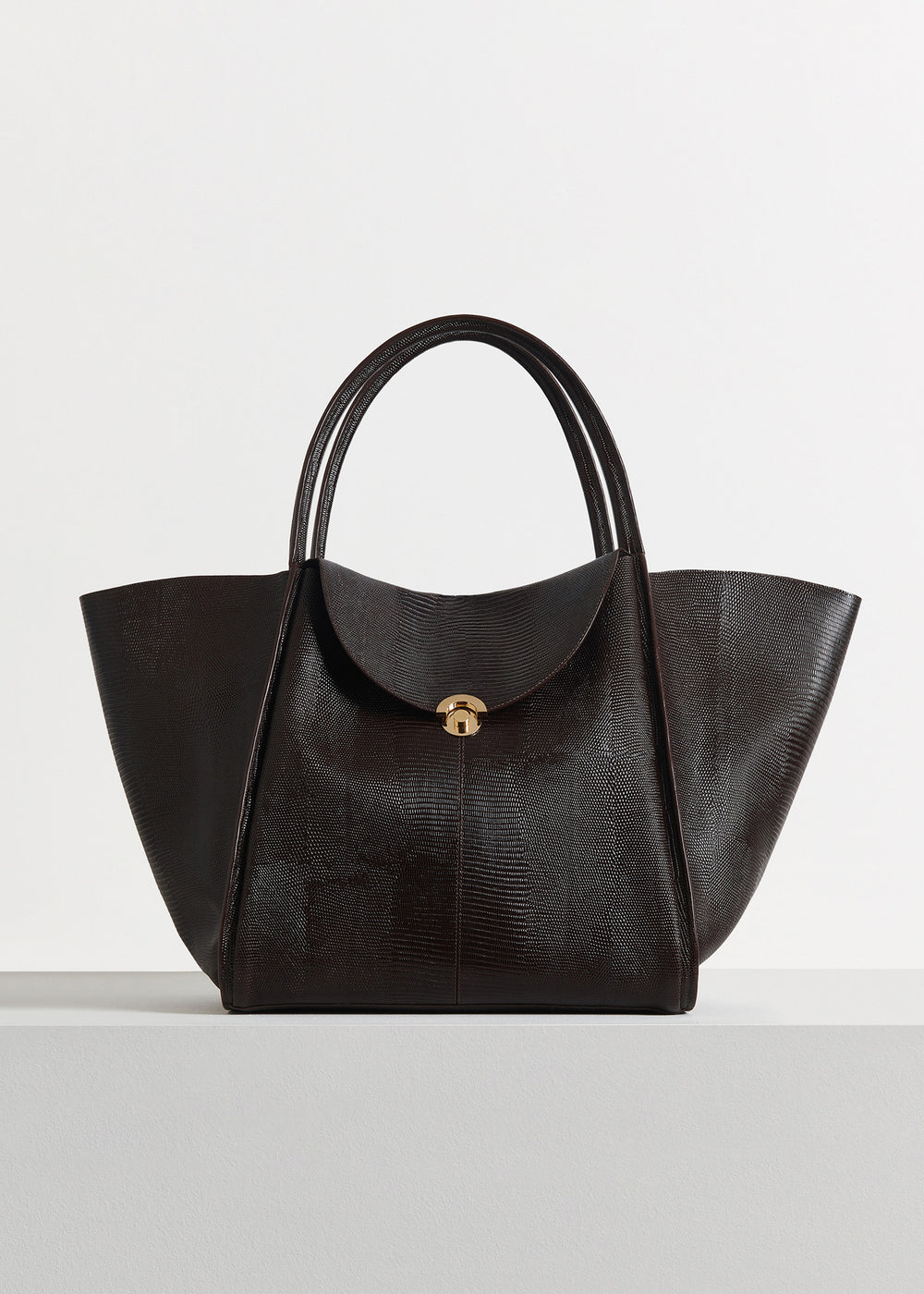 Cabas Bag in Embossed Leather - Dark Brown - CO