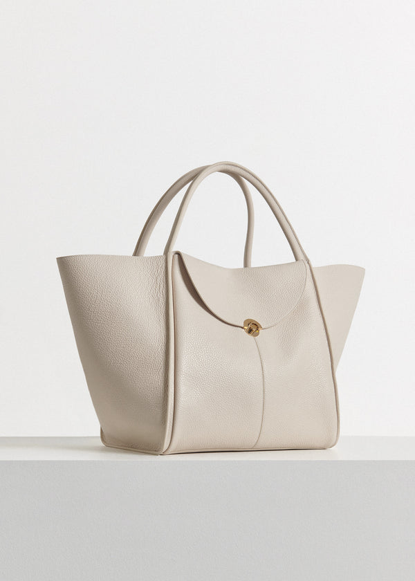 Cabas Bag in Pebbled Leather - Ivory - CO