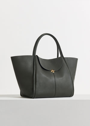 Cabas Bag in Pebbled Leather - Olive - CO