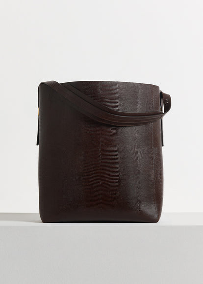 Classic Tote in Embossed Leather - Dark Brown - CO