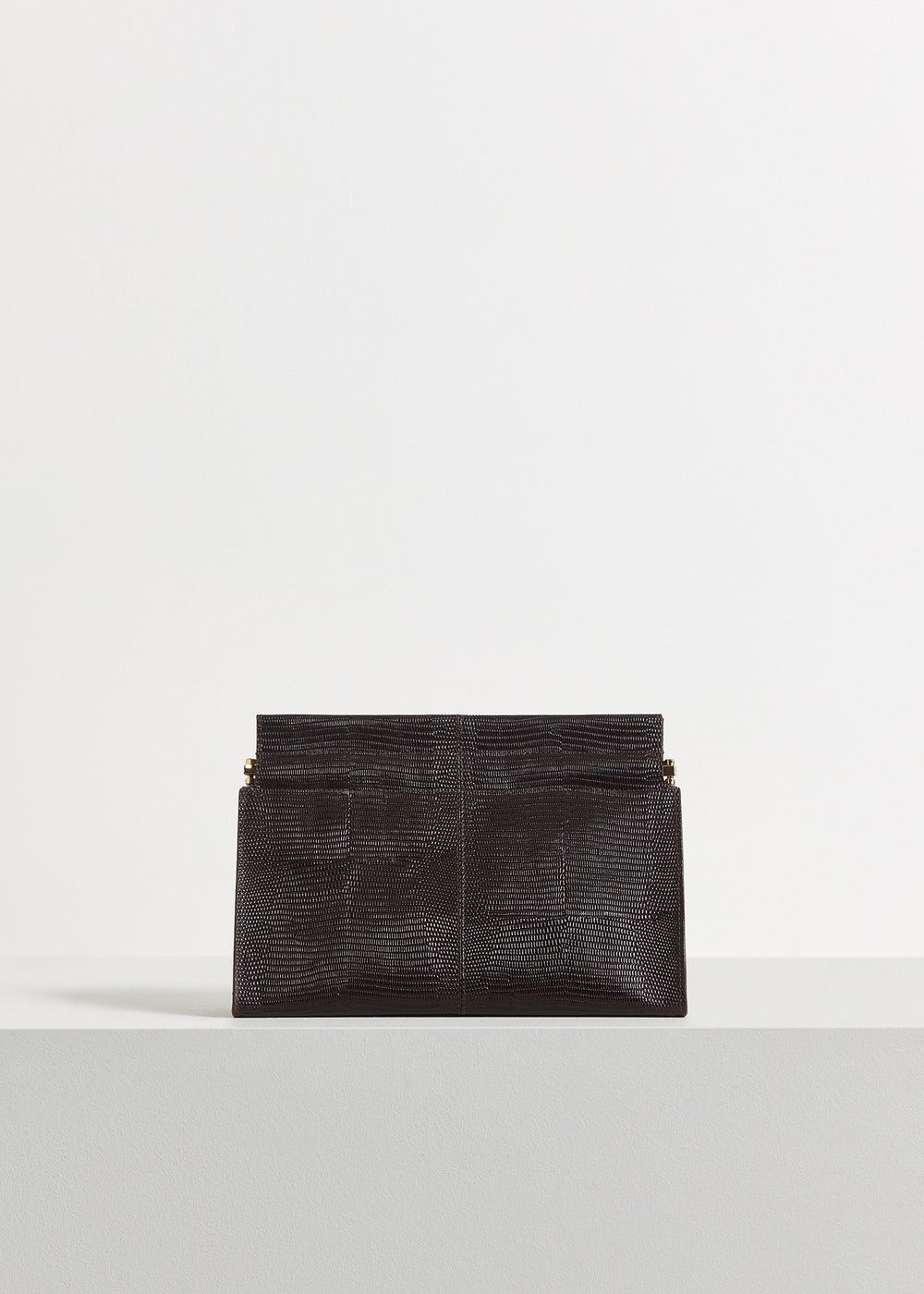 Clutch in Embossed Leather - Black in Dark Brown by Co Collections