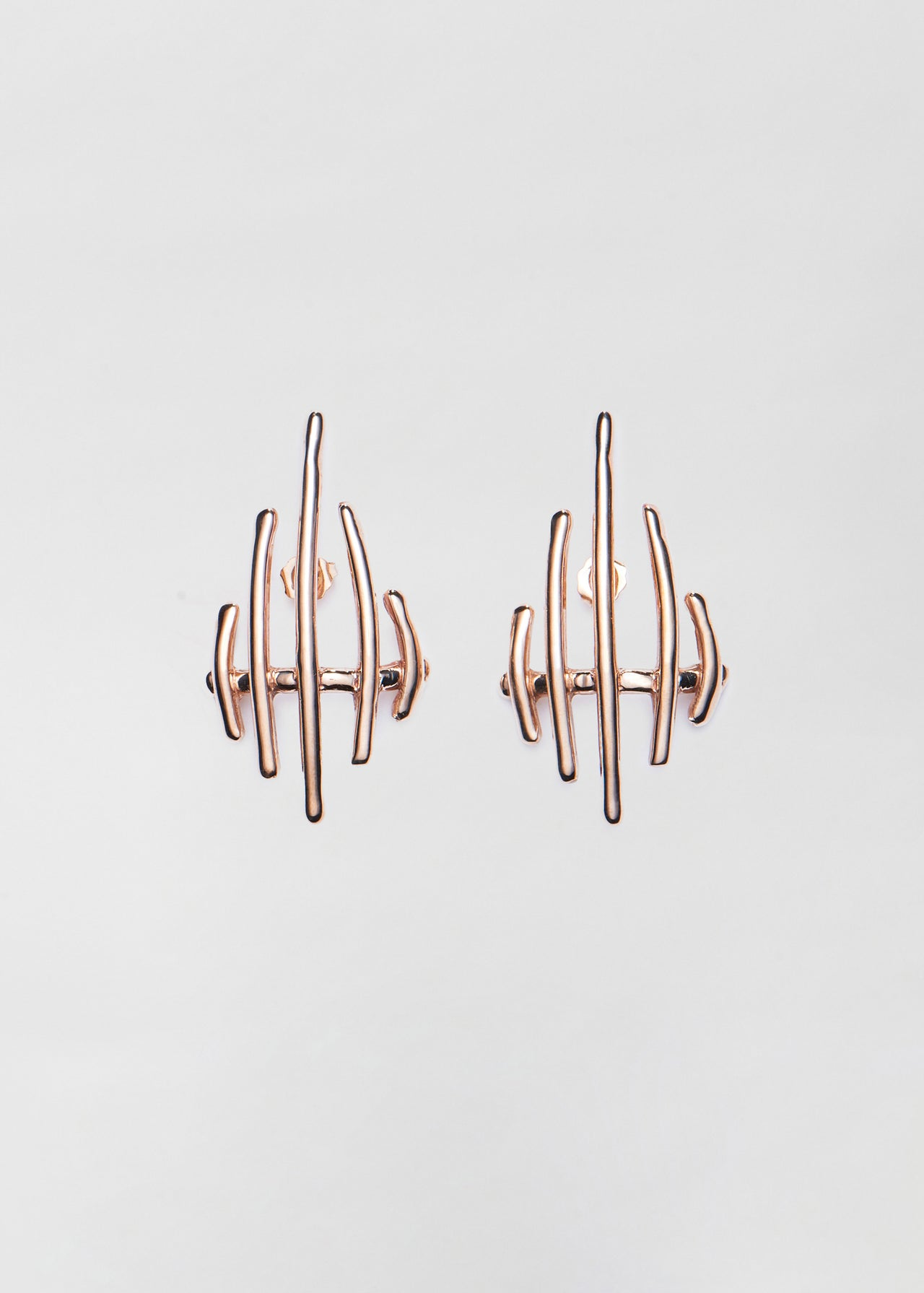 Sculptural Earrings in Bronze