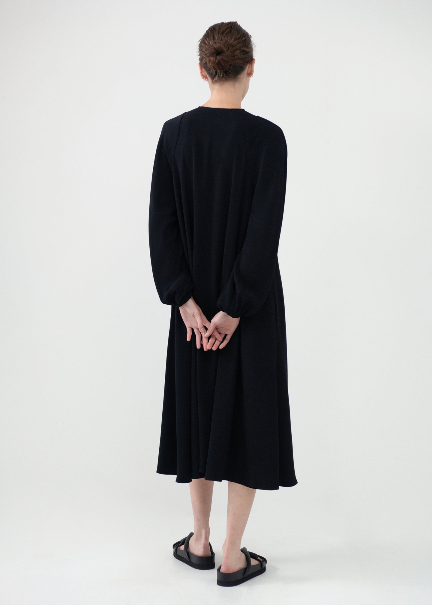 CO - Peasant Sleeve Keyhole Dress in Stretch Crepe - Black