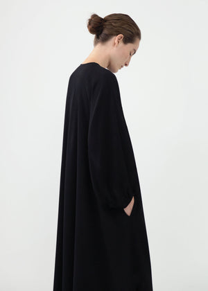 Peasant Sleeve Keyhole Dress in Stretch Crepe - Black - CO