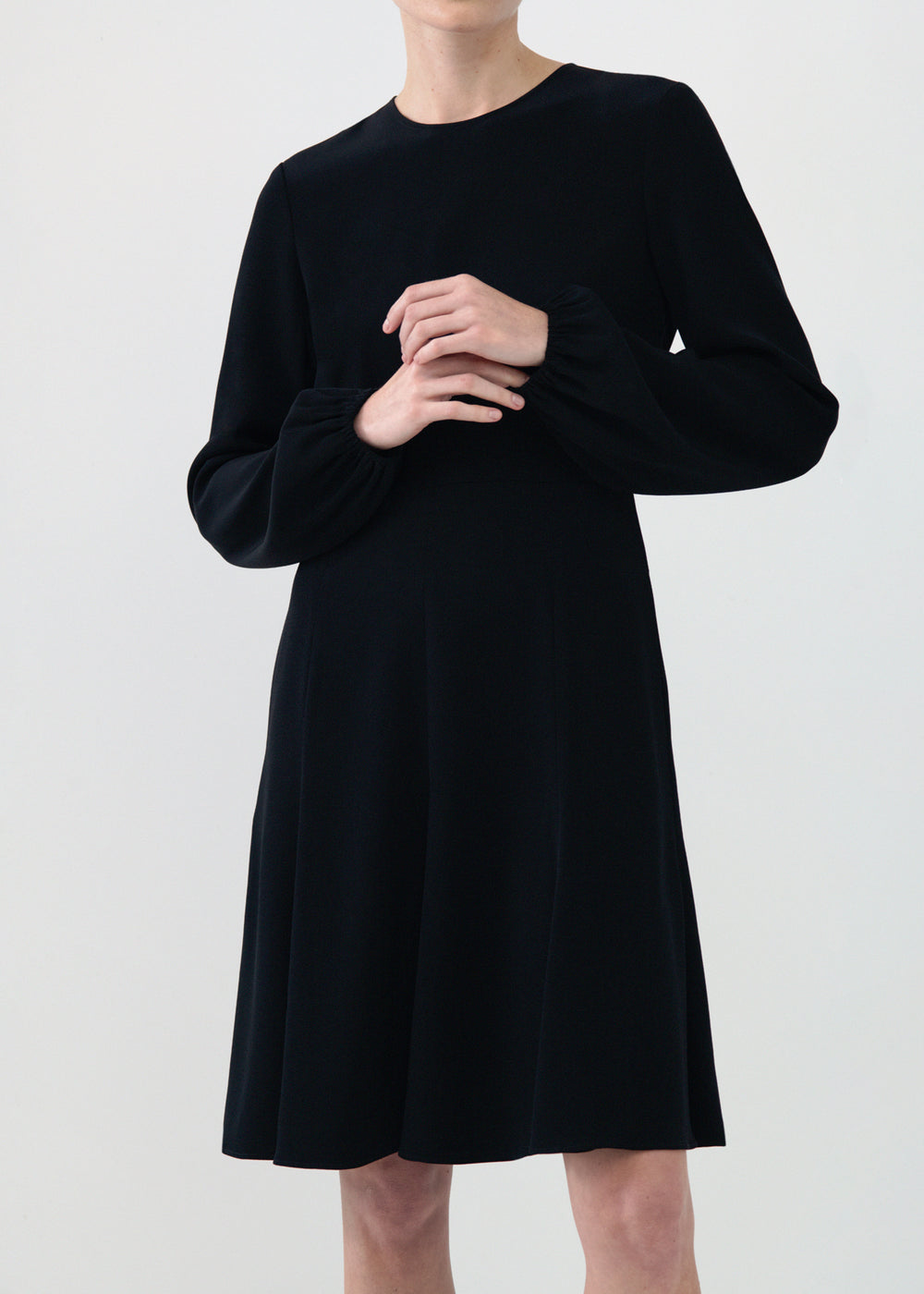 Peasant Sleeve Short Dress in Stretch Crepe - Black - CO