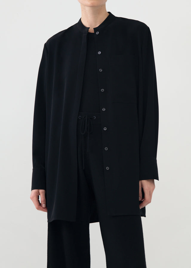 CO - Collarless Button Down Shirt in Stretch Crepe - Black