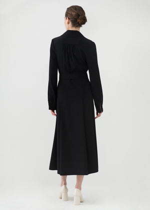 Long Belted Dress in Stretch Crepe - Black - CO
