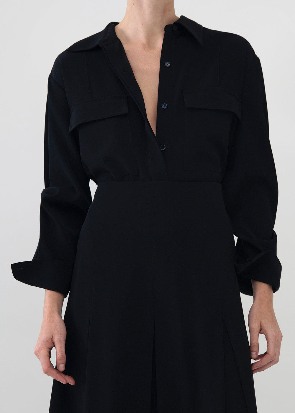 Utility Shirt in Stretch Crepe - Ivory in Black by Co Collections