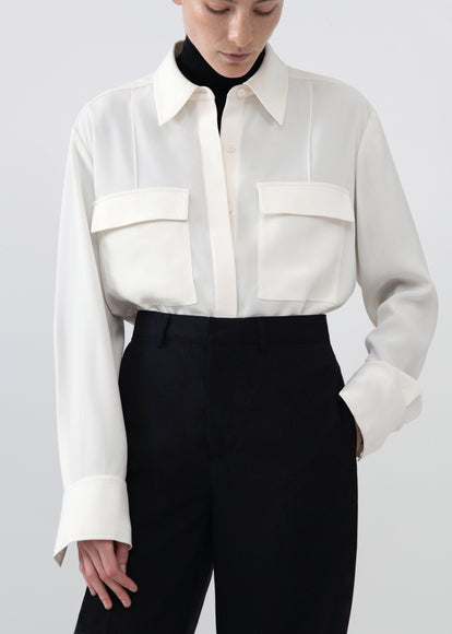 Utility Shirt in Stretch Crepe - Ivory - CO