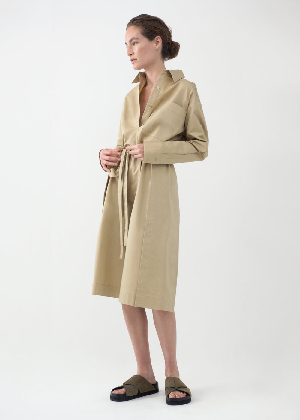 Belted Long Sleeve Dress in Cotton Poplin - Taupe - CO